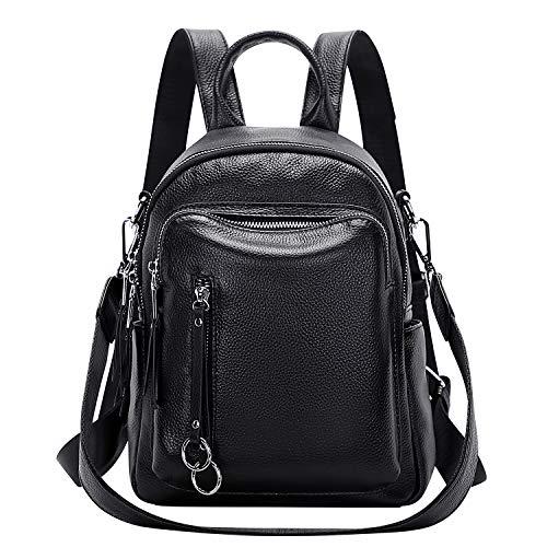 ALTOSY Kleiner Lederrucksack Damen Rucksack Echtleder Elegant Schultertasche Daypack 2 in 1 (S10, Schwarz)