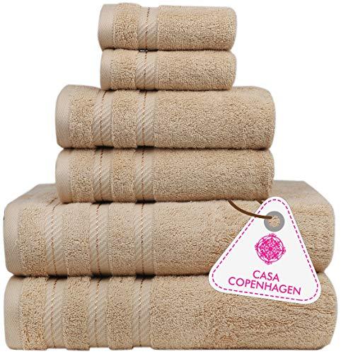 Denmark Soft Linen Premium, 6 Piece Kitchen and Bathroom Egyptian Cotton Towel Set , [Worth $72.95] - 'Purple Rose (2 King Size Bath Towel , 2 Hand Towels , 2 Face Towels, 2 Face Towels
