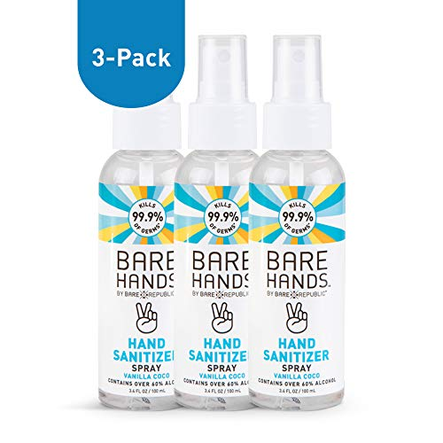 Bare Hands Hand Sanitizer Spray with Aloe, Calendula Extract, and Chamomile, Vanilla Coco, 3.4 fl oz - 3 Pack