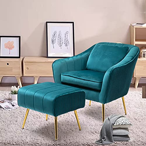 WQSLHX Teal Velvet Accent Chair with Ottoman for Living Room, Armchair Mid Century Modern Vanity Chair for Bedroom with Armrest, Arm Chair with Golden Metal Legs