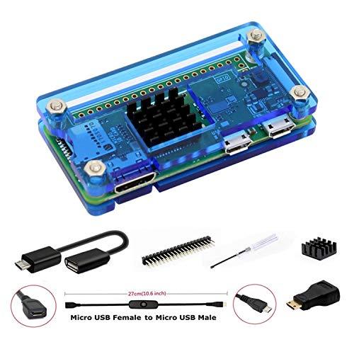 GeeekPi pour Raspberry Pi Zero/Zero W, Kit de démarrage avec Acrylique Raspberry Pi Zero Case, en-tête GPIO 20 Broches, Câble OTG, Câble de commutateur, Adaptateur HDMI, radiateur et Tournevis