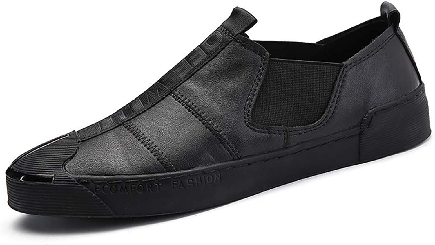 Men's shoes Leather Spring Fall Light Soles Loafers & Slip-ONS For Casual Driving shoes Black