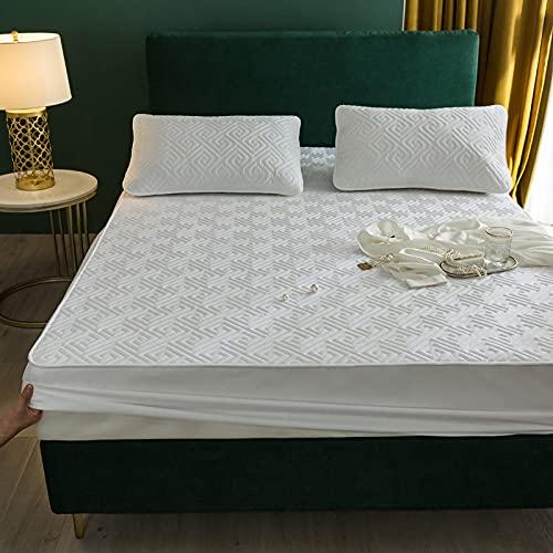FJMLAY Bedsure Sabanas Bajeras Ajustables -,Sábanas Acolchadas de algodón, Almohadillas de protección Antideslizantes para Apartamentos de Dormitorio-White_3_120x190cm