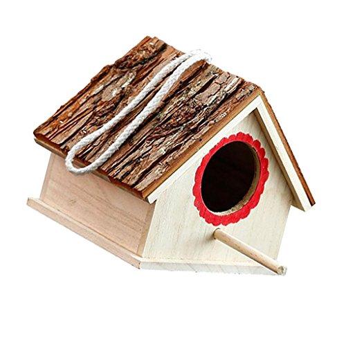MagiDeal Nichoir en Bois Birdhouse Maison Nid Nichoir avec Corde Maison Jardin