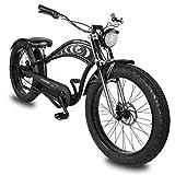 Micargi Cyclone 2.0 48V 500W Pedal Assist 26 inch Electric E-Bike Bicycle Fat Tire Beach Cruiser Bike Matte Grey Black (Matte Black)