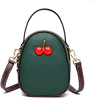 Fashion Green/Brown Leather Cherry Bag Casual Litchi Top Layer Leather Mini Crossbody Shoulder Bag Phone Case 13 * 9 * 24(cm) (Color : Green)