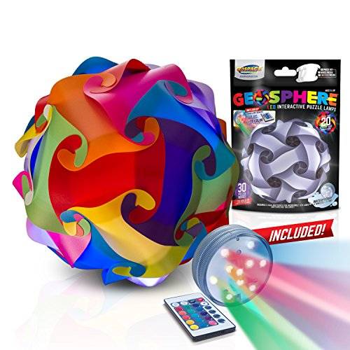 GEOSPHERE 16 Inch - 30 pc Rainbow Colors Lamp Kit Complete with Wireless LED Light