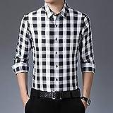 SHENSHI Camisas Hombres,Camisa De Manga Larga con Botones Camisas Casuales De Negocios A Cuadros Slim Fit Camisas De Fiesta De Talla Grande A La Moda, Negro, 4X, Grande