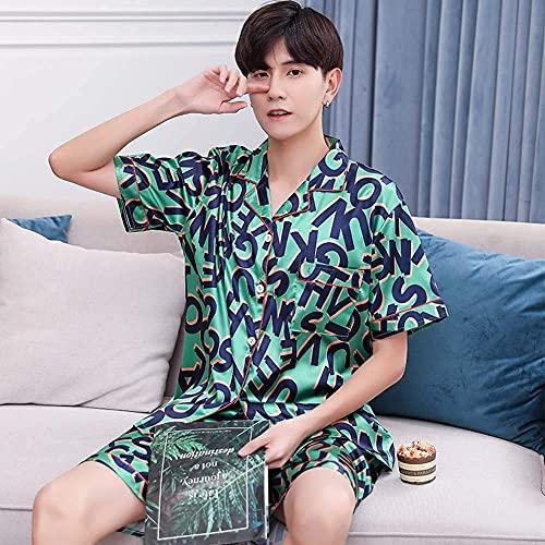 SLM-max Pijamas Calientes,Pijamas para Hombre Pantalones Cortos de Verano de Manga Corta Cardigan Simulación Satén de Seda Suelto XL Plus Fat Ice Silk Home Service,