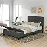 SOFTSEA Platform Bed Upholstered Bed Frame with Storage Case (Queen, Gray)