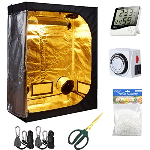 Hydro Plus Grow Tent Kit Indoor Plants Growing Reflective Mylar Dark Room Non Toxic Hut + Hydroponics Growing System Accessories (48''x24''x60'' Kit)
