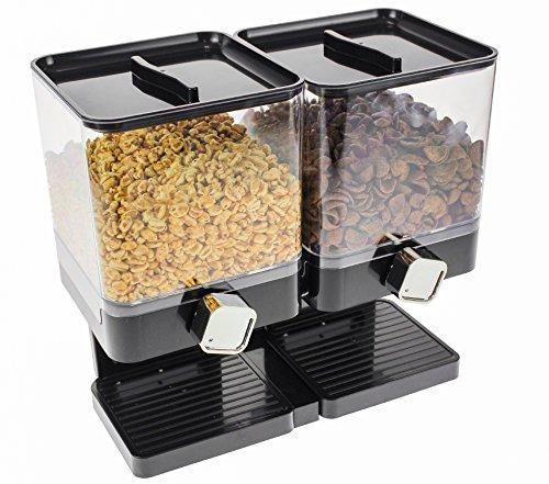 United Entertainment - Müslispender / Cerealienspender / Cornflakesspender / Doppel-Spender für Müsli, Cornflakes und Cerealien - Schwarz Luxury