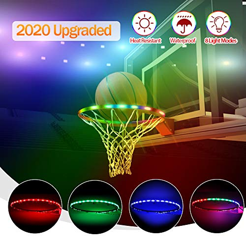 LED Basketball Hoop Lights, Basketball Rim Lights Waterproof Glow-in-The-Dark, Super Bright Strip Lights with 8 Light Modes, Ideal for Kids Adults Training Games Playing at Night Outdoors