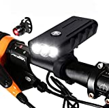 LUXJUMPER USB Rechargeable Bicycle Light, Super Bright 3 LED 3000 Lumen Bike Front