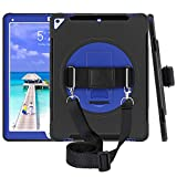 iPad Pro 12.9 Case 2017, iPad Pro 12.9 2nd Generation Case Heavy Duty Rugged Full-Body Shockproof Protective Case Cover with 360° Rotation Stand/Handle Hand/Shoulder Strap