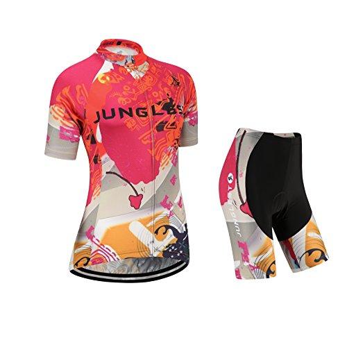 junglest 2018DN (Cuscino 3D)(Tipo:Set Taglie:M) Corta Gilet Prestazioni Donna Ciclismo Antivento Traspirazione Maglia Jerseys Moda per Manica Traspirante