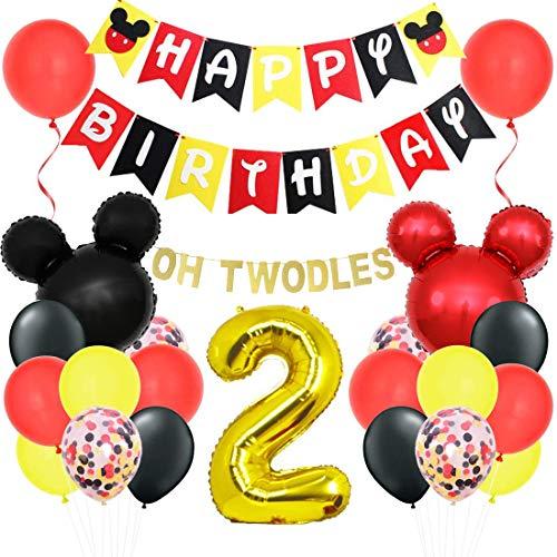 Mickey Oh Twodles 2e Kit de décorations d'anniversaire avec Minnie bannière guirlande Mickey tête...