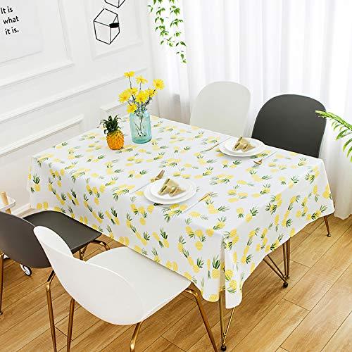 HETOOSHI Mantel para Mesa Rectangular de PVC Impermeable Resistente al Aceite Manteles de Plástico Antimanchas Hules para Mesas Comedor Cocina Multicolor (Patrón de piña, 140 x 200 cm)