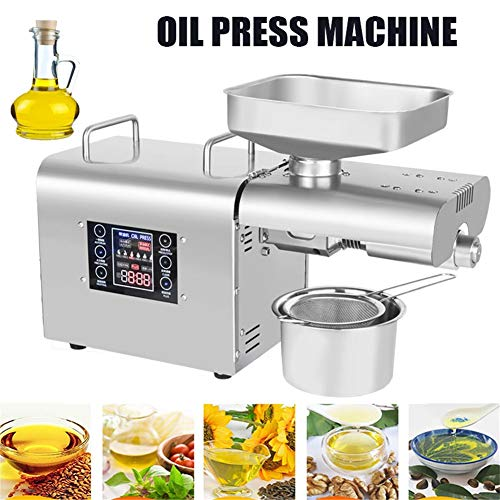 Oil Press Machine, Small Oil Expeller Intelligent Temperature Control Stainless Steel Expeller Press Machine for Peanut Nuts Seeds Coconut And Other Oil Crops Press Oil Extractor