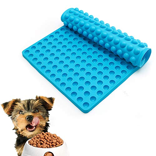 Silicone Baking Mats,Healthy Cooking Sheet,Food Baking Molds,dog and cat bowl mat,Silicone Mold Non-stick for Pets Cat or Dog Treats Mold/Heat Preservation/Dishes Draining/Food Mold/Drain Oil(Blue)