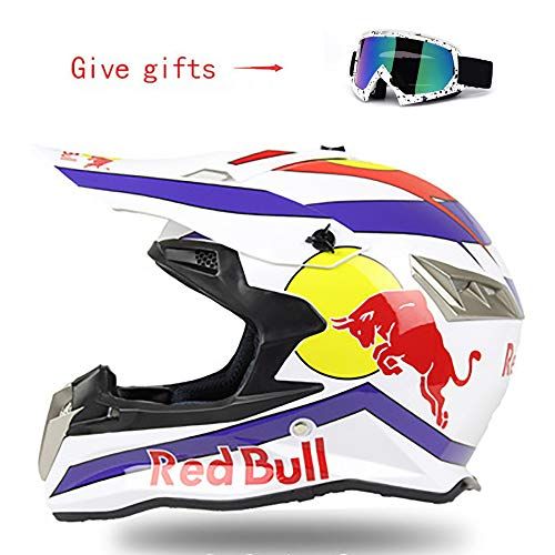 QXFJ Fullface Helm,Motorradhelm Fahrradhelm ABS-GehäUse DOT-Zertifizierung Mehrere EntlüFtungsöFfnungen Coole Form Schnellverschluss Herausnehmbares Futter Schutzbrille Geben Red Bull