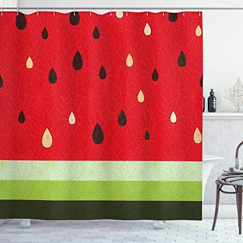 ABAKUHAUS Natur Duschvorhang, Wassermelone Makro Frucht, Waserdichter Stoff mit 12 Haken Set Dekorativer Farbfest Bakterie Resistet, 175 x 200 cm, Rot-grün-schwarz