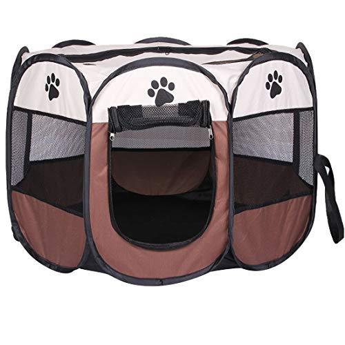 Qiuge Pet Supplies, Beweglicher Faltbare Hundehütte Haus Zelt Zaun Bewegliche Wasserdicht For Hunde Und Katzen Mit Aufbewahrungstasche For Ourdoor Reise, S, Größe: 73 X 73 X 43 Cm ( Color : Coffee )