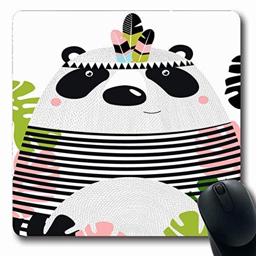 Mausemat Gesicht Lustiger Panda China Glückliches Thema Hipster Tiere Tierwelt Natur Tropischer Junge Feder Aztekisches Baby Gedrucktes Längliches Mousepad 25X30Cm Laptop Rutschfe