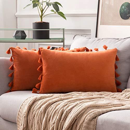 MIULEE 2er Set Samt Kissenbezug Quaste Kissenhülle Dekorative Tassel Dekokissen mit Verstecktem Reißverschluss Sofa Schlafzimmer 12 x 20 Inch 30 x 50 cm Orange