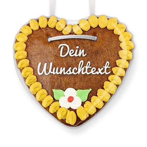 Lebkuchenherz online selbst Gestalten - Farbe: Gelb - inkl. Text nach Wunsch, 15cm | LEBKUCHEN-WELT