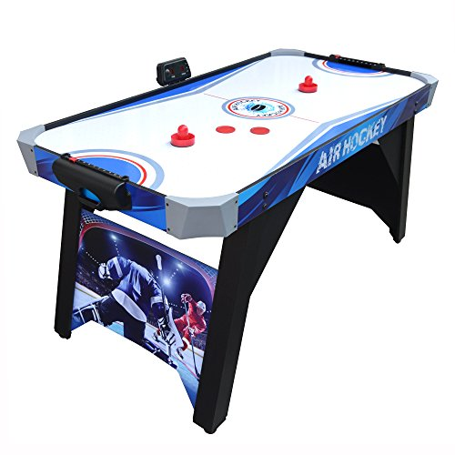 Hathaway Warrior Air Hockey Table 5-ft for Kids and Family Game Rooms with Electronic Scoring – Blue/White