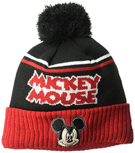 New Era Cap Young Gorro masculino Mickey Mouse Jumbo Cheer Pom tricotado, preto/vermelho, tamanho único
