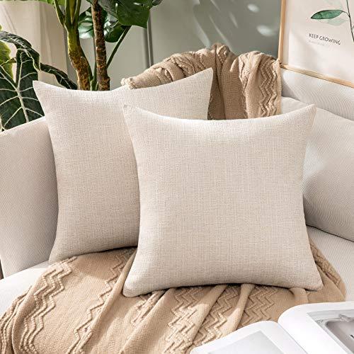 MIULEE 2 Piezas Funda de Cojines Imitación de Lino Funda de Almohada Color Sólido Cremallera Invisible para Sofá Cama Decorativas Modernas para Sillas Habitación Dormitorio 45x45cm Beige