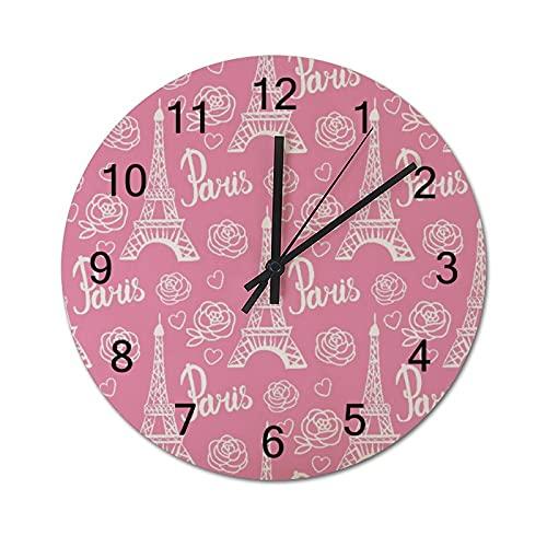 Reloj de Pared Vintage,Pattern Paris Modern Bright De,Relojes de Pared de Madera silenciosos Que no Hacen tictac,Reloj de Pared rústico de Granja para la decoración del Dormitorio de la Sala de Estar