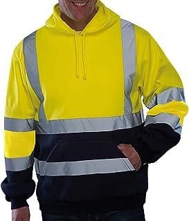 GNYD Felpa da Uomo Elegante con Cappuccio A Manica Lunga Alta Visibilita da Lavoro Stradale Pullover Top Camicetta Uniform...