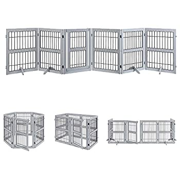 unipaws Pet Playpen with Wood and Wire 6 Panels Extra Wide Freestanding Walk Through Dog Gate with 4 Support Feet Foldable Stairs Barrier Pet Exercise Pen for Dogs Cats  Dog Playpen 6-Panel Gray