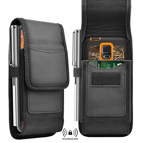 Tiflook Phone Holster for Samsung Galaxy S21 Ultra S20 FE S10 Plus A11 A21 A51 A71 A02S A12 A32 A52 A72 A20 Note 20 10 9 8 Rugged Nylon Cell Phone Belt Holder Carrying Case Pouch with Belt Clip,Black