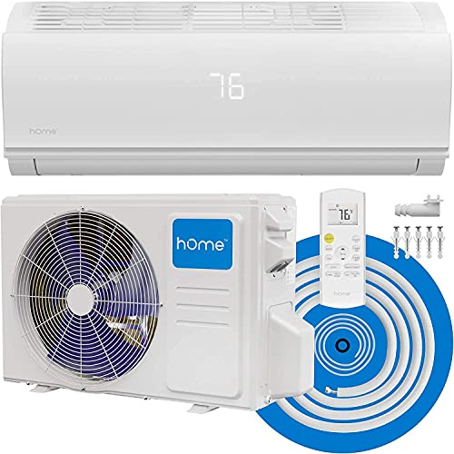 hOmeLabs Split Type Inverter Air Conditioner with Heat Function — 9,000 BTU 115V — Low Noise, Multimode Air Conditioning with a Washable Filter, Stealth LED Display, and Backlit Remote Control