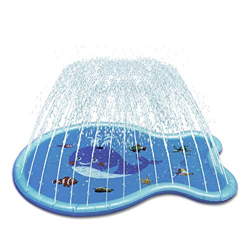 Wenlong Sprinkler for Kids 70' Splash Pad Wading Pool Outdoor Water Toys Backyard Fountain Play Mat Swimming Pool for Babies and Toddlers 1 -12 Year Old Boys Girls Party Sprinkler Toys