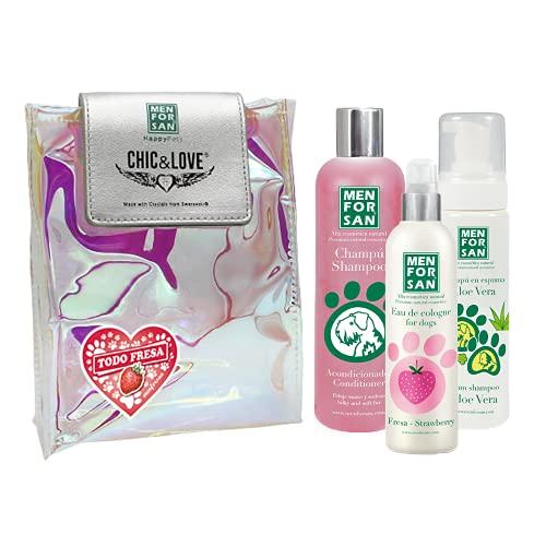 Pack Higiene y Belleza Menforsan | Champú Acondicionador Perros 300ml | Colonia Fresa para Perros 125ml | Champú en Espuma para Perros y Gatos 200ml | Rico Aroma a Fresa