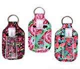 Zario Empty Travel Size Bottle and Keychain Holder - Refillable Travel Sized Keychain Carriers with Flip Cap Reusable Bottles - 30 ML Refillable Bottles for Soap, Lotion, and Liquids (Floral 3)