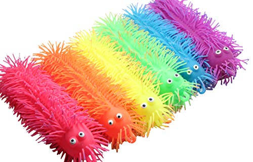 Curious Minds Busy Bags 6 Light Up 9' Puffer Worm - Flashing Indoor Soft Hairy Air-Filled Sensory Toy Puffer Balls - Sensory Fidget and Stress Balls - OT Autism SPD