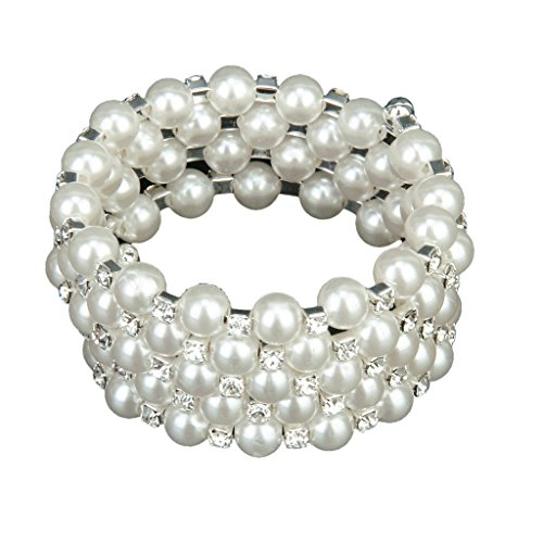 SODIAL(R)Fashion Wedding Bridal White Faux Pearl Rhinestone 5 Rows Stretch Elastic Bangle Bracelet