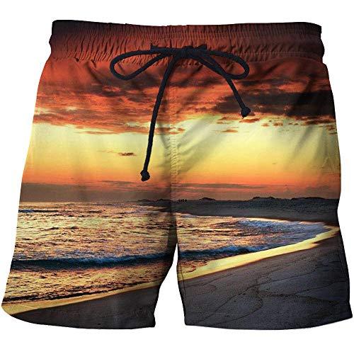Mannen zwembroek Waterdichte zwembroek Lichtgewicht Quick Dry Beach Shorts Oranje Zonsondergang Zee