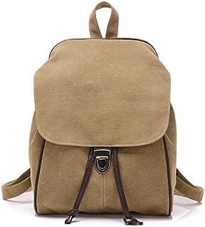 GAOFENGWAN Freizeit Rucksack reine Farbe Retro Double Shoulder Bag college Segeltuch Tasche einfach Dame Reisetasche, khaki