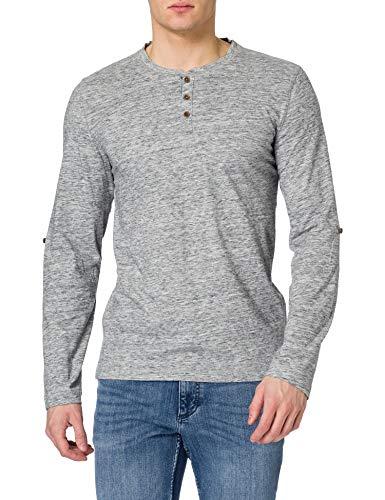 mustang Adrian H Henley Camisa, Azul Oscuro, M para Hombre