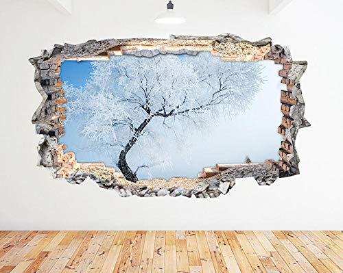 WYHXYZ 3D Look Wandtattoo Wall Stickers Frozen Tree Winter Lanscape Smashed Decal 3D Art Vinyl Room N955