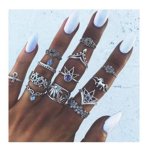 Landpark 13pcs Women Boho Crystal Flower Knuckle Ring Set Vintage Punk Retro Finger Rings Valentines Day Present Gift for Girlfriend Wife Lover
