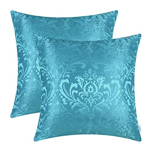 CaliTime - Juego de 2 fundas de cojín para sofá, decoración del hogar, diseño vintage de damasco, color azul