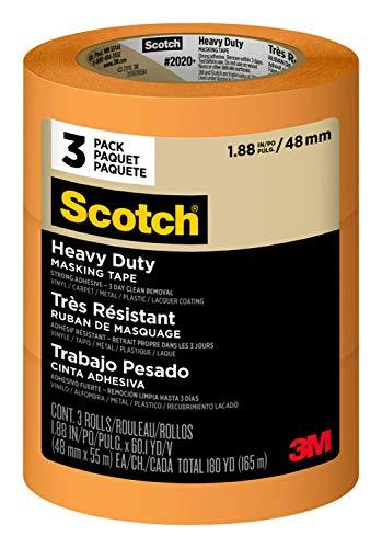 3M 2020+ Cinta de enmascarar Scotch Heavy Duty: 1.88 in. x 60 yds. (naranja) / 3-paquete